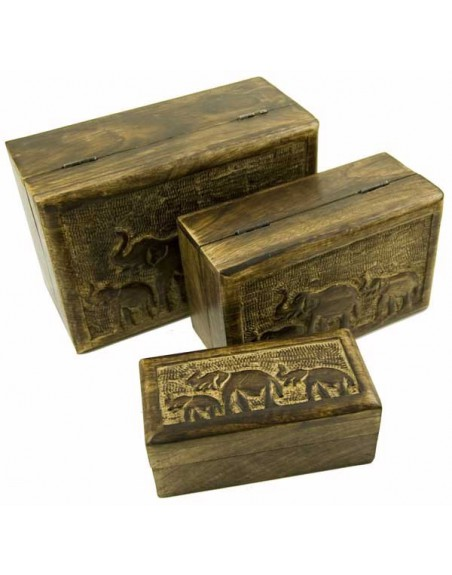 Elephant Carved Wooden Boxes