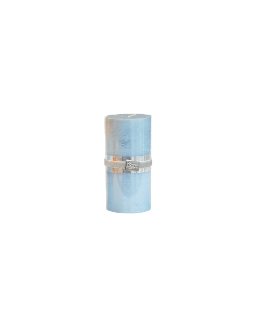 Finnmari Metallic Pillar Candle 7x15cm Light Blue