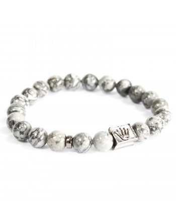 Crown Ingot Grey Agate Bracelet