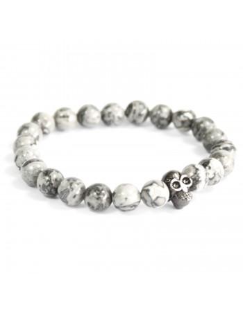 Pewter Skull Grey Agate Bracelet