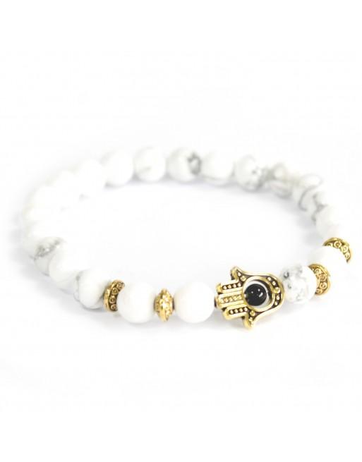 Gold Hamsa White Stone Bracelet