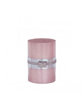 Finnmari Metallic Pillar Candle 7x10cm Pink