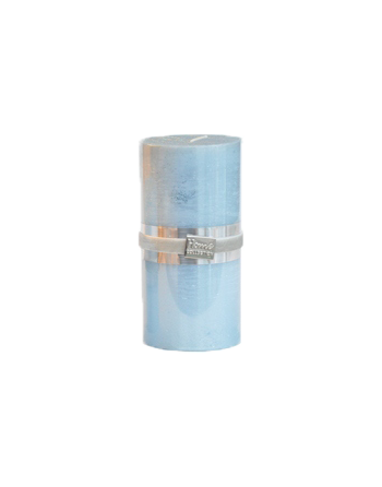 Finnmari Metallic Pillar Candle 7x15cm Light Blue